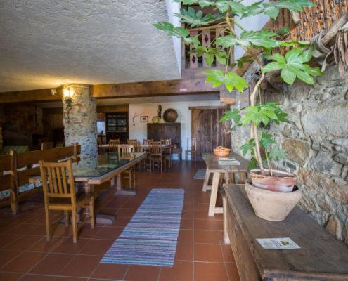 Salon comedor con chimenea en casa Montesinho